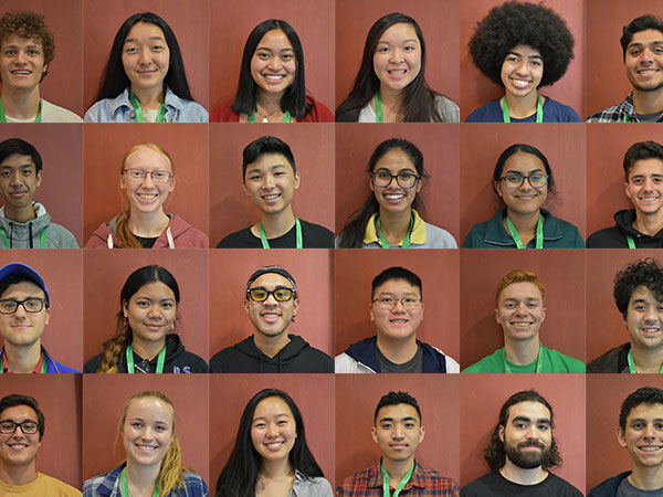 A collage of a diverse group of coding and computer science summer interns